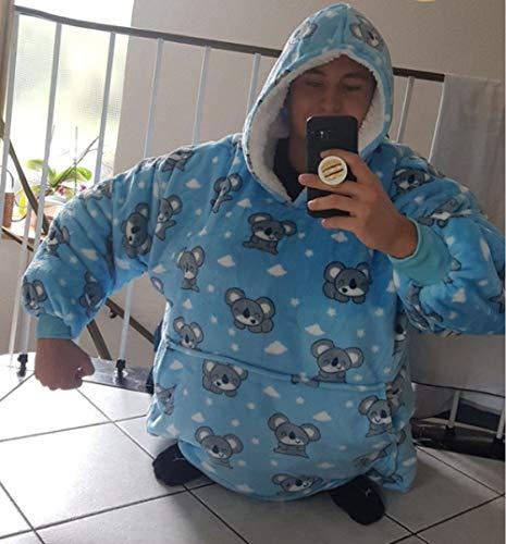 HUANSUN Invierno Mujer Espesar Camisones de Franela Manga Larga Niñas Vestido de Noche cálido Dibujos Animados Lindos Ropa de Dormir mullida Ropa de salón para Dormir, Azul Koala, Talla única
