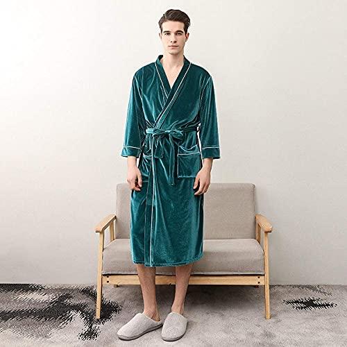 JJYY Bata de vellón para Mujer, Albornoz de Terciopelo Dorado para Parejas para Hombres y Mujeres con Bolsillos Kimono liviano Batas Unisex para Todas Las Estaciones Ropa de Dormir suav