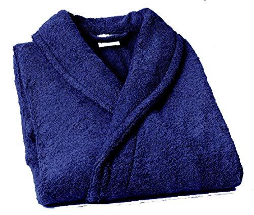 Lasa Pure Albornoz con Cuello Tipo Smoking, algodón 100%, Marino, M