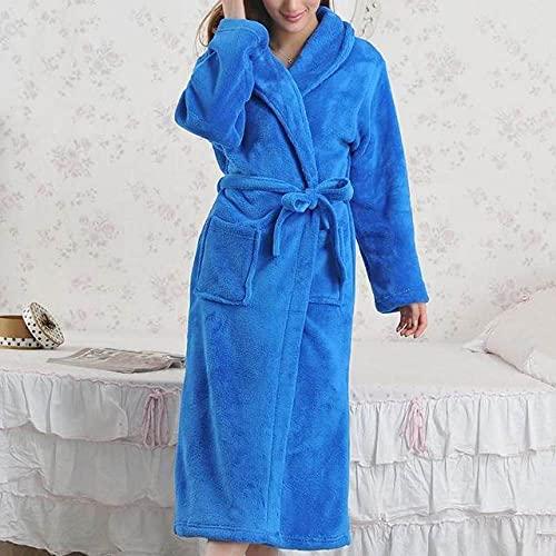 SDCVRE Pijama de Albornoz Invierno cálido camisón de Franela Albornoz de Lana de Coral Bata Larga Kimono Vestido Espesar Ropa de casa Ropa de Dormir Informal lencería íntima, Estilo 6, l