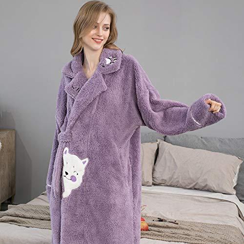 Albornoz Suave,Púrpura Hembra Invierno Albornoz Mujer Franela De Las Mujeres Dibujos Animados Cuerda Suelta Kimono Robes Mujer Gruesa Y Caliente Bata Cinturón Bolsillo Home Wear, XXL