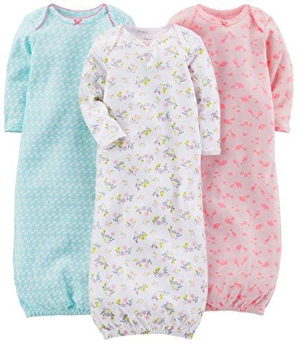 Simple Joys by Carter's Baby Girls paquete de 3 pijamas de algodón ,Blue, Pink, White Floral ,0-3 Months