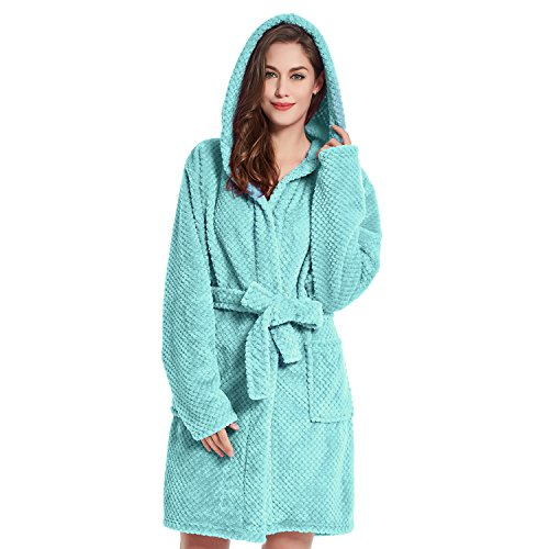 DecoKing Albornoz S Corto Mujer Hombre Unisex Capucha Bata Microfibra Suave Agradable Ligero Fleece Turquesa Sleepyhead
