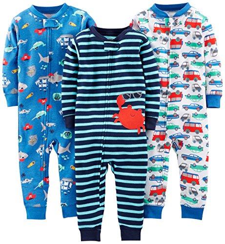 Simple Joys by Carter's pijama de algodón sin pies para bebés y niños pequeños, paquete de 3 ,Crab/Sea Creatures/Cars ,18 Months