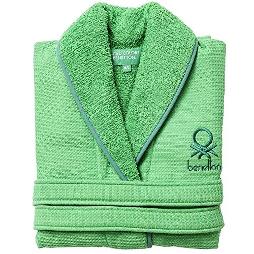 UNITED COLORS OF BENETTON.- Albornoz l/XL 360gsm Nido Abeja 100% algodón Verde Casa Benetton