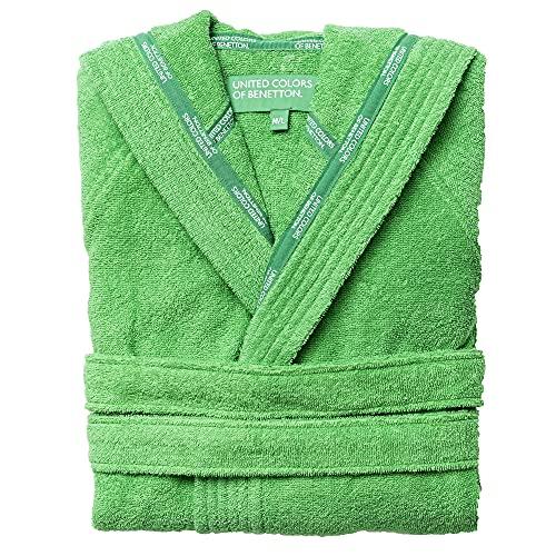 UNITED COLORS OF BENETTON.- Albornoz de Algodón con Capucha, para Mujer y Hombre, Tipo Poncho de Color Verde, Talla L/XL
